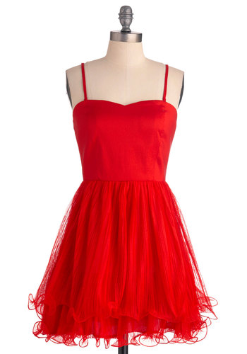 Flirty at the Fete Dress - Short, Prom, Party, Luxe, Red, Solid, Ruffles, Tiered, A-line, Spaghetti Straps