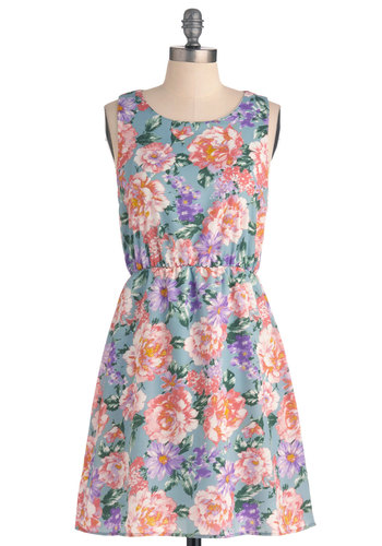 Strolling on Sunday Dress in Sky - Multi, Blue, Floral, Casual, Shift, Sleeveless, Spring, Mid-length, Pastel, Tis the Season Sale