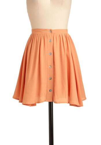 Chic Street Skirt by Mink Pink - Short, Orange, Solid, Buttons, Casual, A-line, Spring