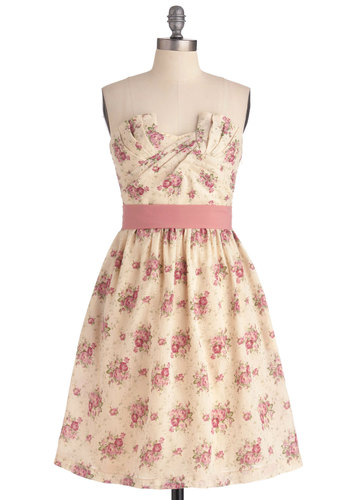 Cottage Tea Party Dress - Wedding, Party, Vintage Inspired, Multi, Pink, Tan / Cream, Floral, A-line, Strapless, Long