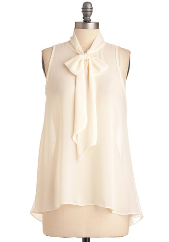 Sheer Style Top in White - Mid-length, Cream, Solid, Vintage Inspired, Sleeveless, Sheer, Variation, Work, Tie Neck