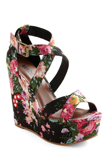 Scent a Signal Wedge - Multi, Floral, Pink, Black, Party, Wedge, Spring, Platform, High