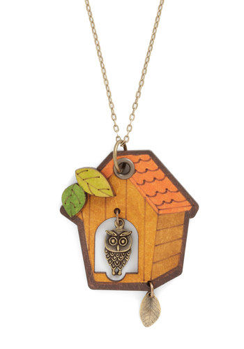 House It Going? Necklace - Casual, Owls, Orange, Green, Gold, Brown, Multi