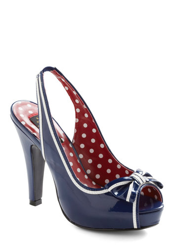 Girl on a Mission Heel by Pinup Couture - Blue, White, Bows, Trim, Pinup, Vintage Inspired, 40s, Solid, Casual, Faux Leather, Platform, Peep Toe, Slingback, High, Nautical