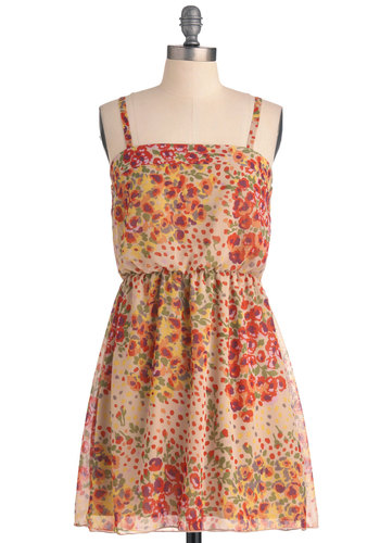 Poppy Festival Dress - Short, Casual, Red, Orange, Yellow, Green, Purple, Floral, Spaghetti Straps, Multi, Sheath / Shift