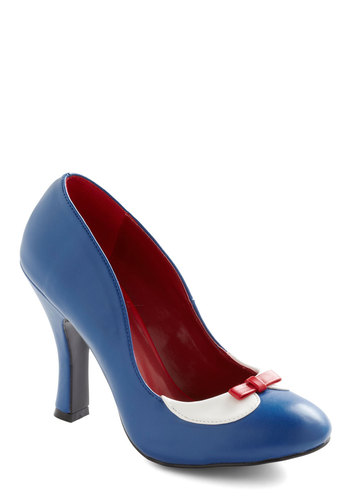 Glad You Collared Heel - Blue, Red, White, Bows, Work, Casual, Faux Leather, High, Nautical