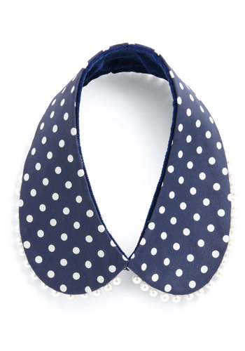 Feeling Sophisticated Reversible Collar - Blue, White, Polka Dots, Pearls, Work, Vintage Inspired, Party, 60s