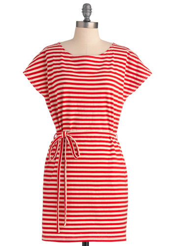 Bold in Bushwick Dress - Short, Casual, Red, Tan / Cream, Stripes, Sheath / Shift, Short Sleeves, Belted, Nautical