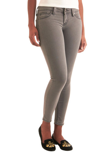 Nothing Short of Stylish Jeans - Grey, Solid, Pockets, Casual, Mid-length, Denim, Skinny