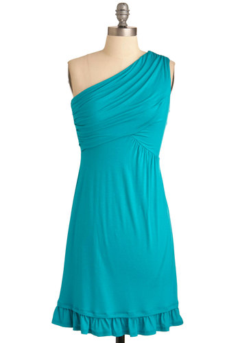 Midnight Sun Dress in Aqua - Blue, Solid, Ruffles, Wedding, Party, Sheath / Shift, One Shoulder, Mid-length, Exclusives, Jersey, Ruching
