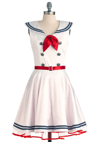 Ahoy, Lovely! Dress - Mid-length, Nautical, Vintage Inspired, White, Red, Blue, Solid, Bows, Tiered, Trim, A-line, Sleeveless, Spring