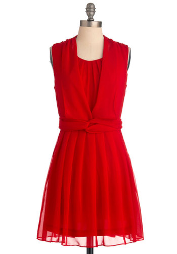 Flourish or for Poorer Dress - Mid-length, Red, Solid, Pleats, A-line, Sleeveless, Wedding, Party
