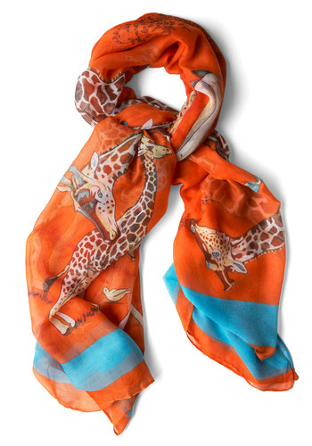 The Height of Style Scarf - Casual, Multi, Blue, Print with Animals, Orange