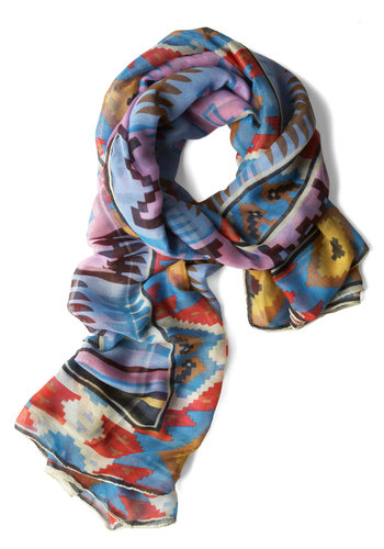 Dawn Over Denver Scarf - Casual, Folk Art, Multi, Print, Blue, Purple