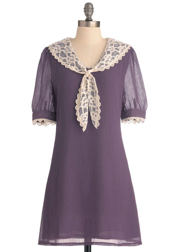 Stop and Wisteria Dress by Miss Patina - Mid-length, Purple, Tan / Cream, Solid, Lace, Trim, Sheath / Shift, Short Sleeves, Vintage Inspired, Peter Pan Collar, Work, Nautical