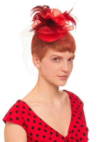 Youre on Top Fascinator - Red, Black, Feathers, Flower, Formal, Wedding, Vintage Inspired, Holiday Party