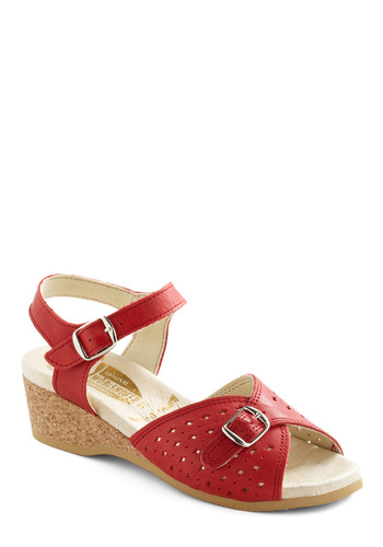View of the Sea Sandal in Red - Red, Solid, Cutout, Casual, Summer, Mid, Leather, Americana