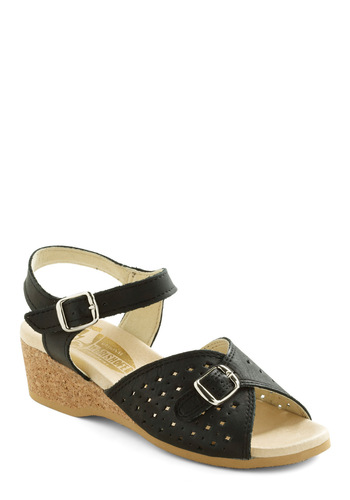View of the Sea Sandal in Black by Wörishofer - Black, Solid, Cutout, Casual, Summer