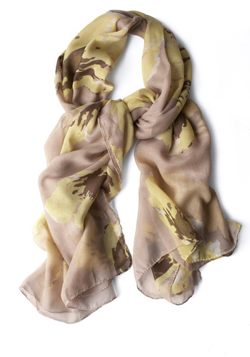 So Glade You Came Scarf - Casual, Yellow, Tan, Print, Boho