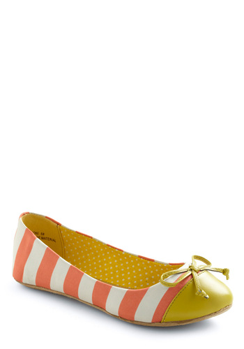 Queen of the Cone Flat in Strawberry and Lemon - Casual, Yellow, Stripes, Bows, Orange, White, Faux Leather, Flat