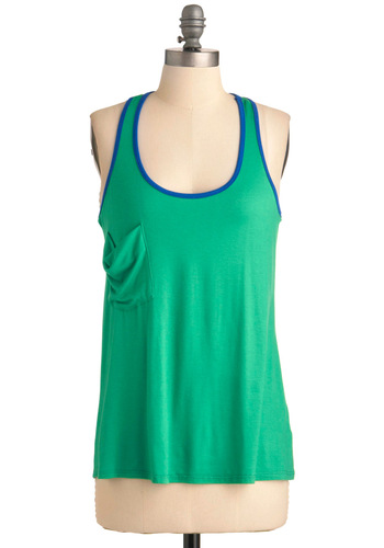 Sport the Cause Top - Mid-length, Casual, Urban, Green, Blue, Solid, Pockets, Tank top (2 thick straps), Racerback, Summer