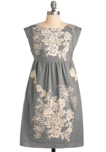 Grey-t Escape Dress - Mid-length, Grey, Tan / Cream, Floral, Pockets, Empire, Cap Sleeves, Embroidery, Cocktail, Cotton