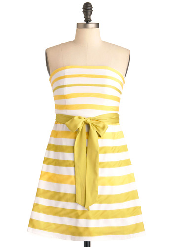 Lemon-Limeade Dress - White, Stripes, A-line, Strapless, Wedding, Party, Yellow, Mid-length