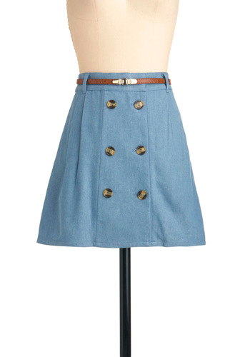 Summer Session Skirt by Miss Patina - Short, Casual, Blue, Solid, Buttons, Nautical, Pockets, A-line
