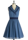 Huron to Something Dress - Vintage Inspired, Blue, Solid, Pockets, A-line, Sleeveless, Mid-length, Work, Fit & Flare, Belted, Cotton, Collared