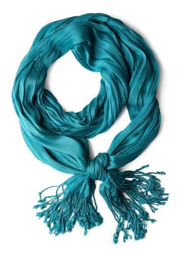 Crinkle in Time Scarf in Teal - Casual, Vintage Inspired, Blue, Solid, Fringed, Minimal, Sheer