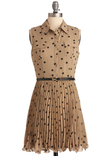 Who Dozen Dress - Mid-length, Tan, Black, Polka Dots, Buttons, Pleats, Pockets, Sleeveless, Casual, Shift, Work, Belted, Button Down, Collared