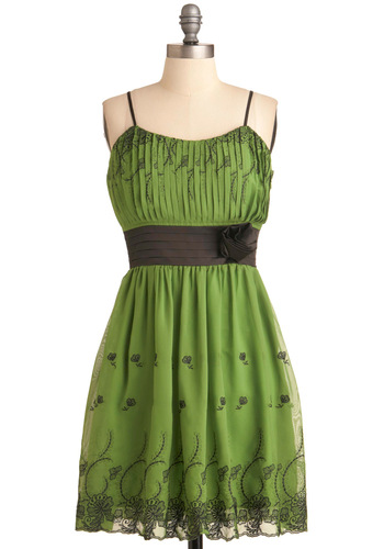 Verdant Ivy League Dress - Mid-length, Green, Floral, Embroidery, Flower, Pleats, Empire, Spaghetti Straps, Special Occasion, Party, Vintage Inspired, Black