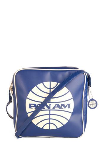 Pan Am Cabin Bag - Travel, 60s, Faux Leather, Mod, Graduation, Blue, Print, Work