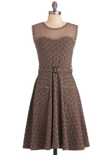 Blogging Molly Dress by Effie's Heart - Black, Print, Buckles, Lace, Pockets, Trim, Party, Casual, A-line, Sleeveless, Brown, Long, Steampunk, Belted, Sheer, Cotton, Fit & Flare, Sweetheart, Top Rated