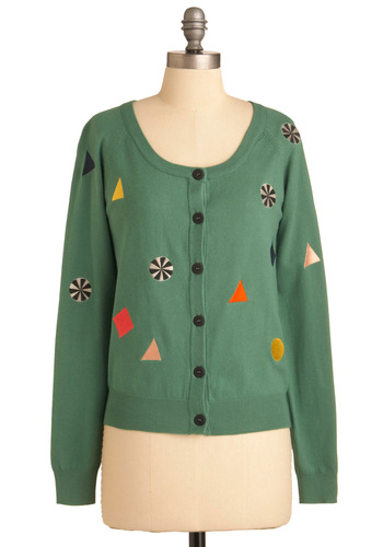 You Candy Do It Cardigan by Nümph - Mid-length, Casual, Green, Multi, Embroidery, Long Sleeve, Print