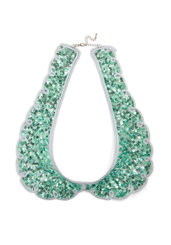 Shine by Me Collar in Mint - Party, Vintage Inspired, Green, White, Scallops, Sequins, 60s