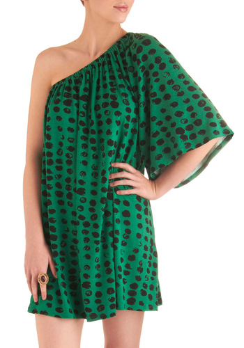 Dot It Yourself Dress - Mid-length, Party, Green, Black, Polka Dots, Shift, One Shoulder, Girls Night Out, Daytime Party