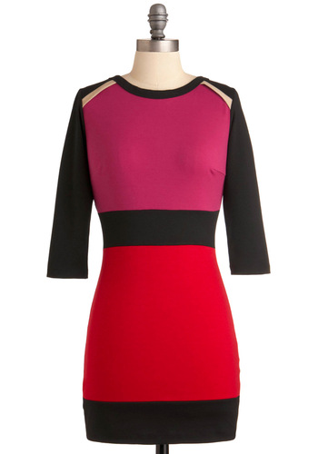 Rock the Block Dress - Red, Pink, Black, Exposed zipper, Mini, 3/4 Sleeve, Short, Vintage Inspired, 80s, 90s, Urban, Party, Girls Night Out, Bodycon / Bandage, Colorblocking