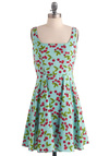 Very Berry Charming Dress in Cherries - Casual, Vintage Inspired, Fruits, Blue, Red, Green, White, A-line, Tank top (2 thick straps), Pinup, Summer, Fit & Flare, Spring, Mid-length, Polka Dots