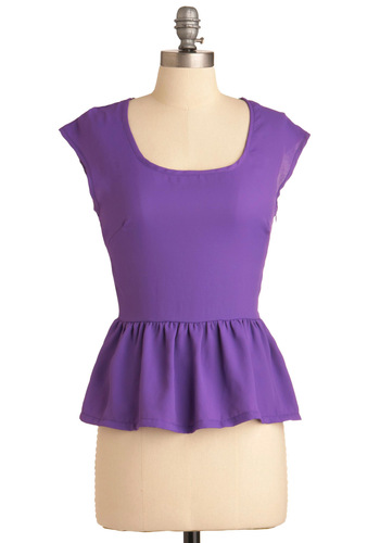 Dainty Does It Top - Mid-length, Purple, Solid, Ruffles, Work, Vintage Inspired, 60s, Cap Sleeves