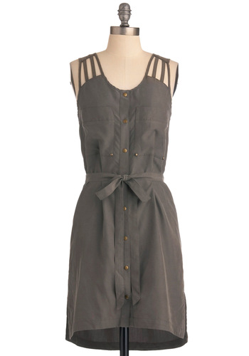 Militaire of Confidence Dress by Gentle Fawn - Mid-length, Casual, Military, Safari, Grey, Solid, Buttons, Pockets, Sheath / Shift, Tank top (2 thick straps)