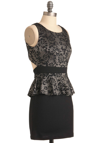 Show and Metallic Dress - Short, Black, Silver, Mini, Party, Floral, Backless, Shift, Sleeveless, Cocktail, Girls Night Out, Peplum