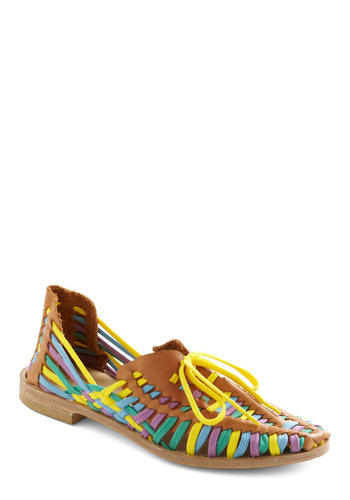 Just the Lace Flat - Brown, Multi, Yellow, Green, Blue, Purple, Stripes, Woven, Casual