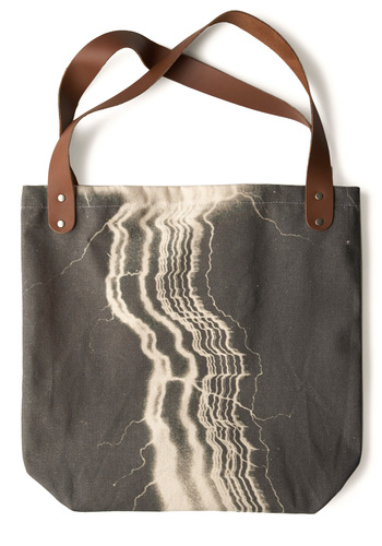 Sunday Market Tote in Lightning by FluffyCo - Casual, Urban, Grey, White, Print