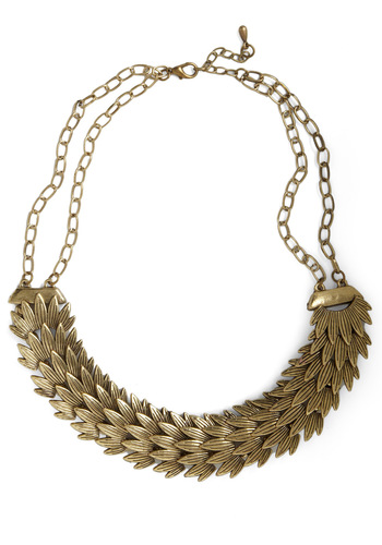 Golden Plumage Necklace - Gold, Party