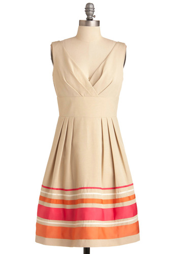 Fondant and Dandy Dress - Mid-length, Cream, Orange, Pink, Stripes, Pleats, Empire, Tank top (2 thick straps), Party, Trim