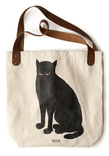 Sunday Market Tote in Cat by FluffyCo - Casual, Urban, Black, White, Print