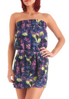 High Fashion Flora Romper by BB Dakota - Purple, Floral, Casual, Vintage Inspired, Strapless, Multi, Green, Blue, Pink, Summer, Long