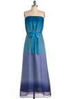 Nightfall in Love Dress - Long, Blue, Purple, Maxi, Strapless, Solid, Party