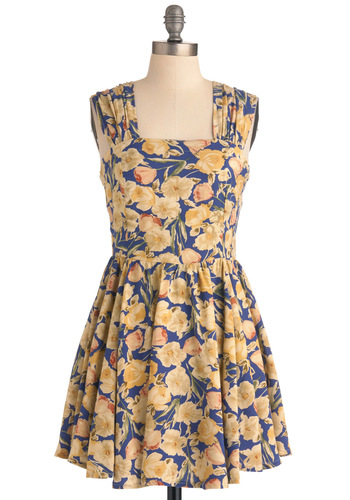 Pressed Posies Dress by Mink Pink - Mid-length, Floral, A-line, Blue, Vintage Inspired, Yellow, Party, Sleeveless